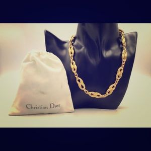 Christian Dior vintage figure8 gold toned necklace